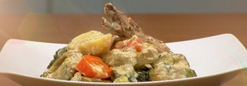 """GOAT FRICASSEE WITH ZUCCHINIS """"KAPAMA"""", EGGPLANTS AND FUNNEL"""